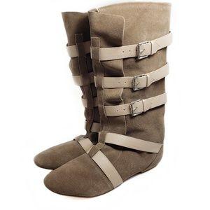 Colin Stuart Tan Buckle Flat Boots Sz 10